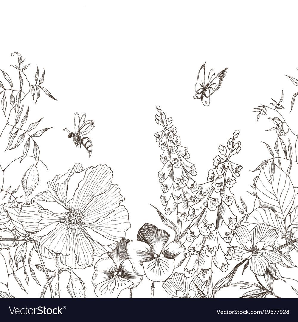 Seamless Border Vintage Floral Background Flower Vector Image