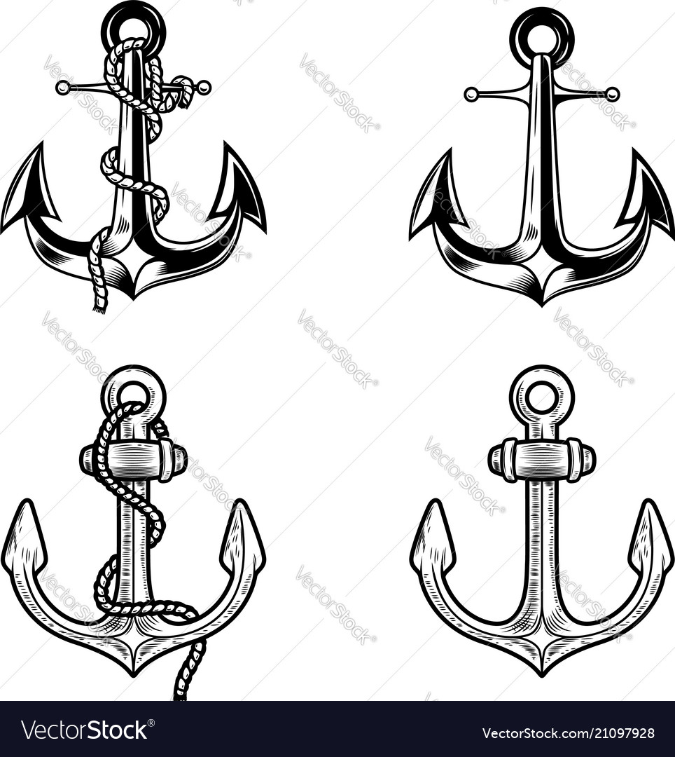 Set of anchors on white background design