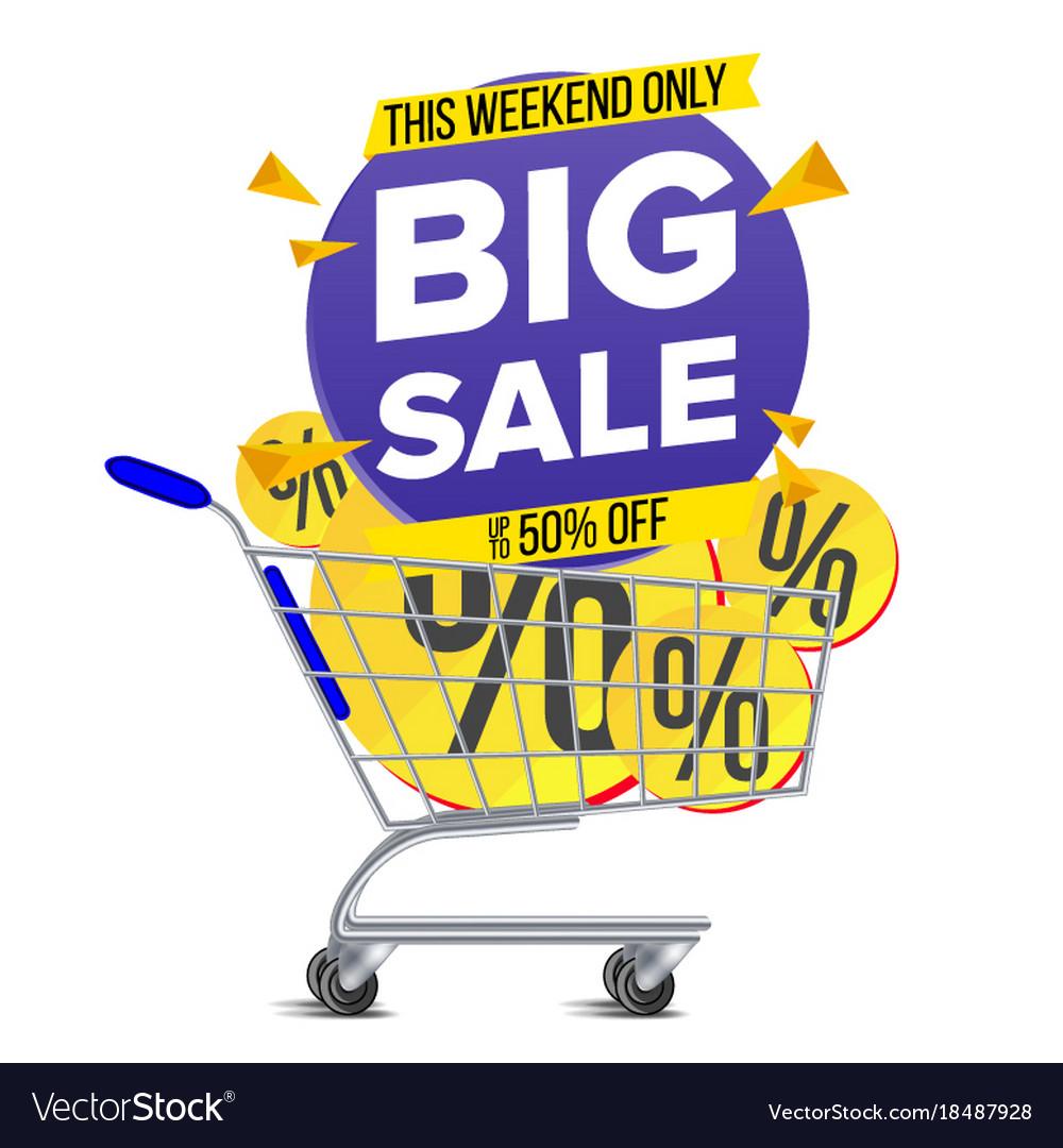 Shopping cart big sale banner discount