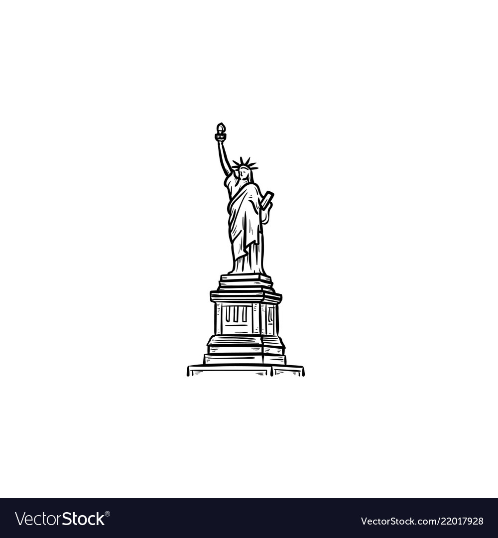 The statue of liberty hand drawn outline doodle