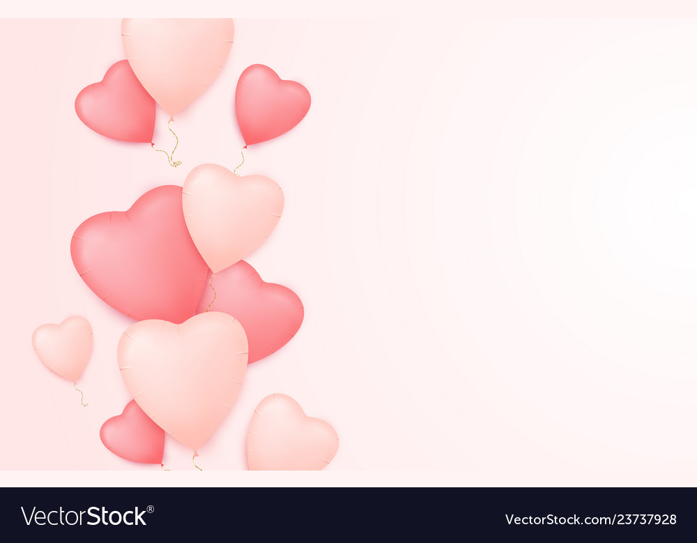 Valentine day background with heart balloons
