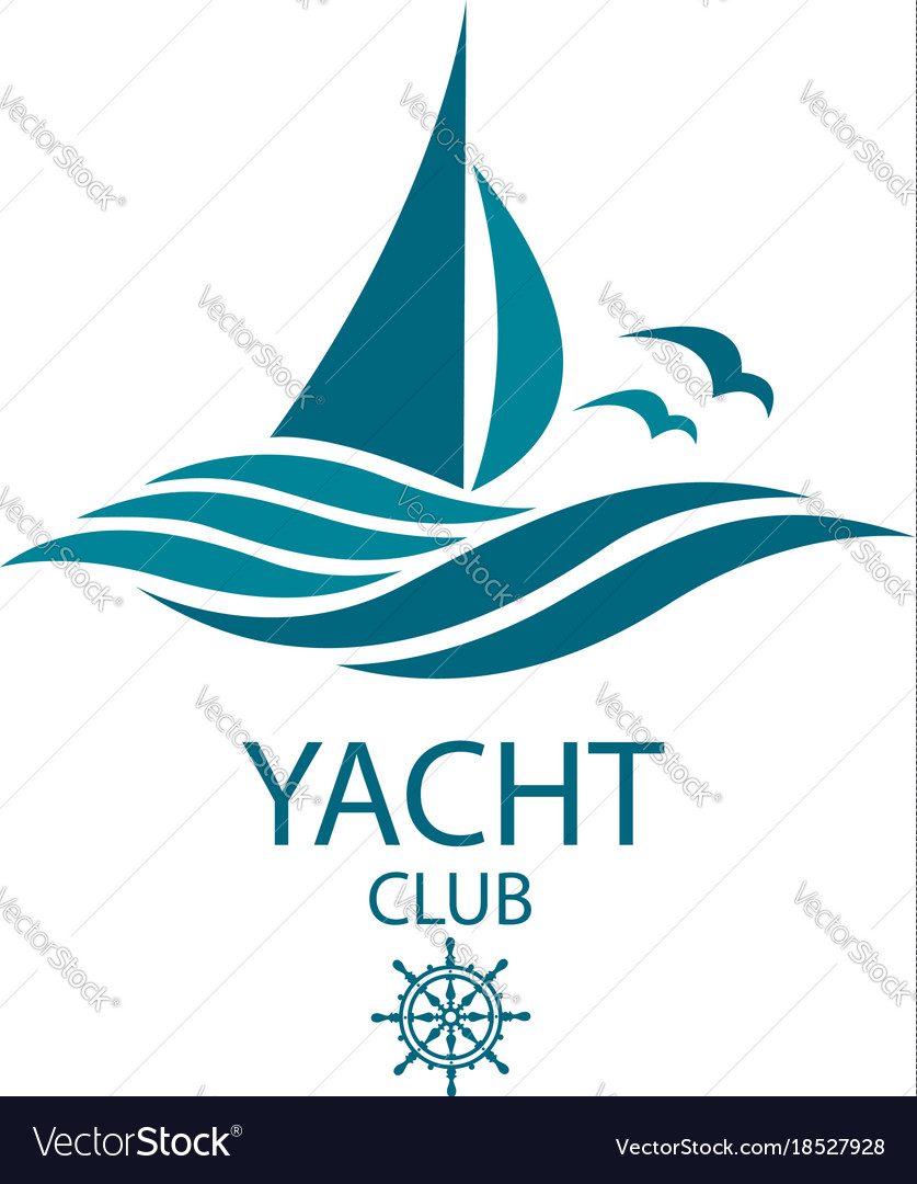 Yacht and waves icon
