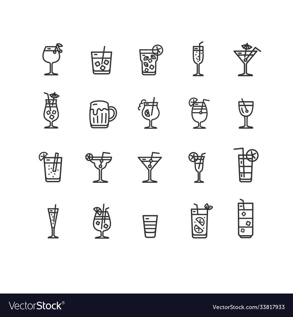 Alcohol bar black thin line icon set