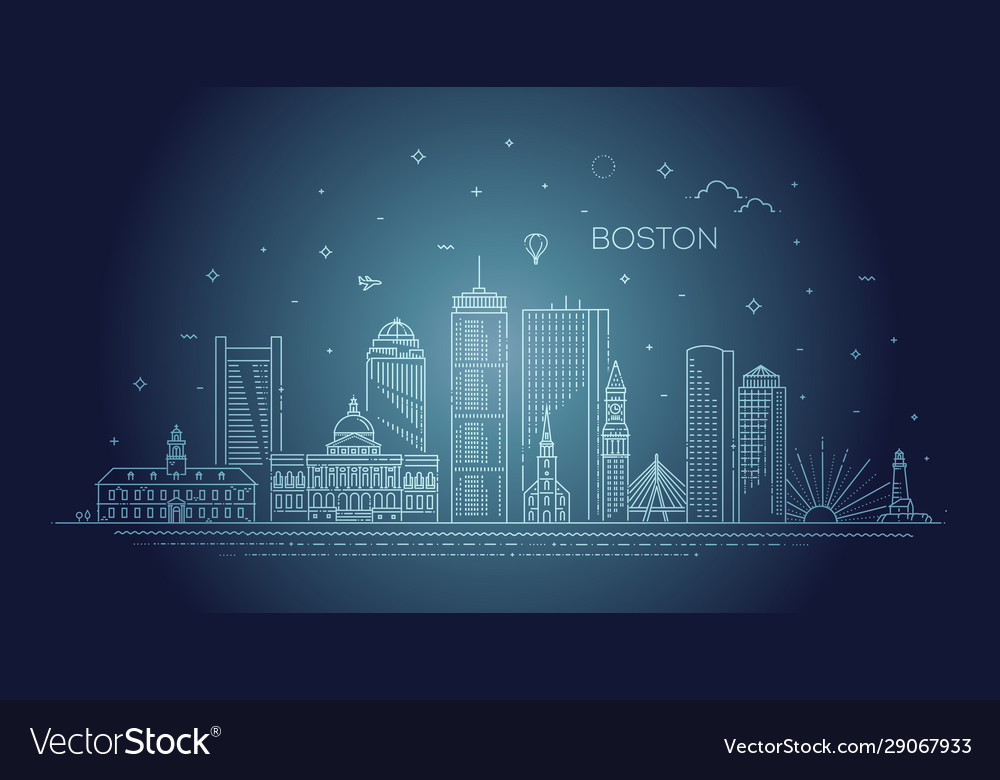 Boston architecture line skyline