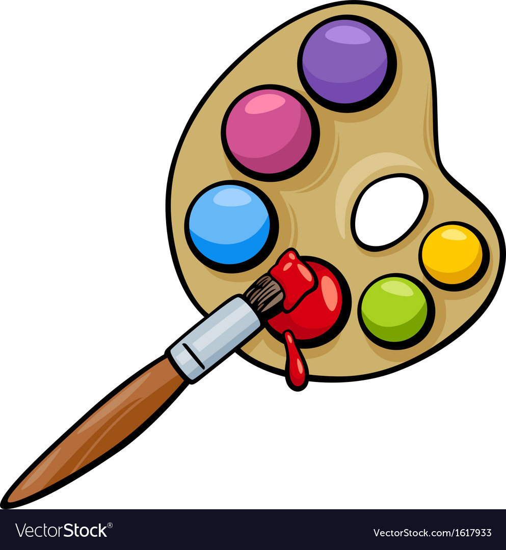 Brush And Palette Clip Art Cartoon Vector Image