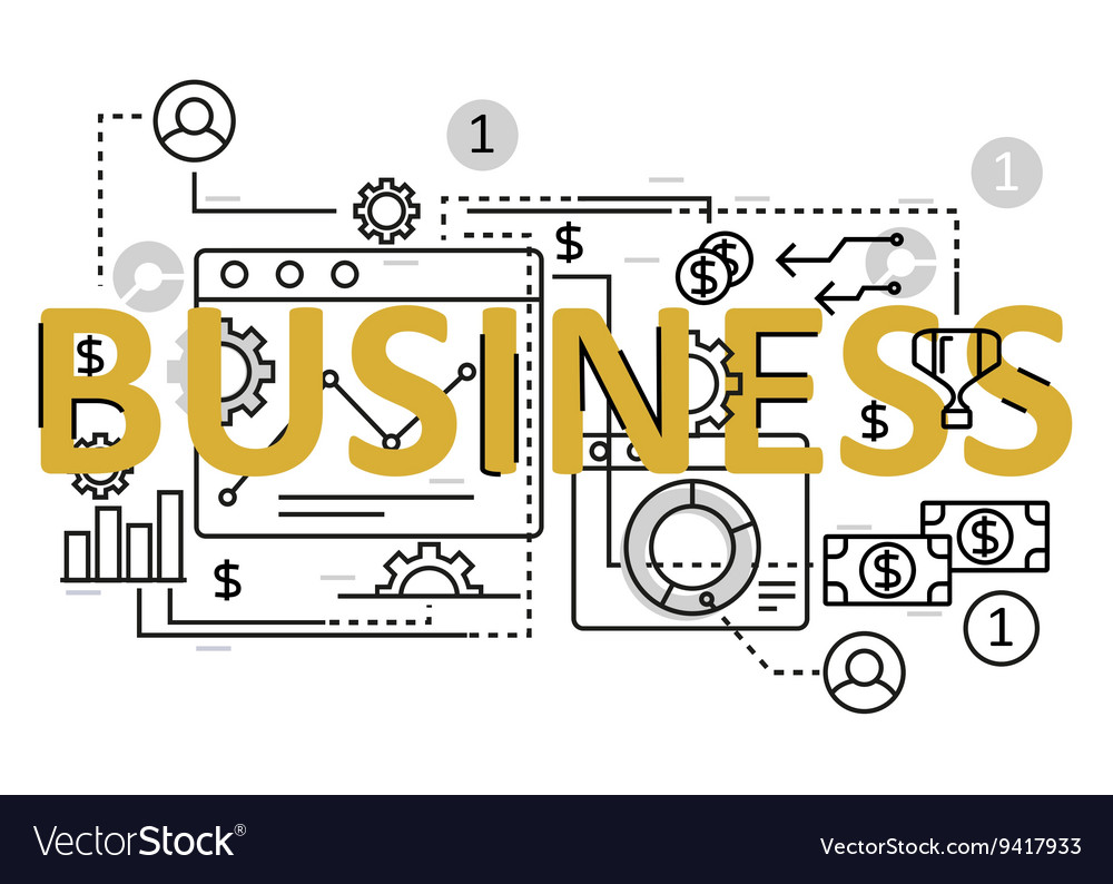 Business concept flat line design with icons and