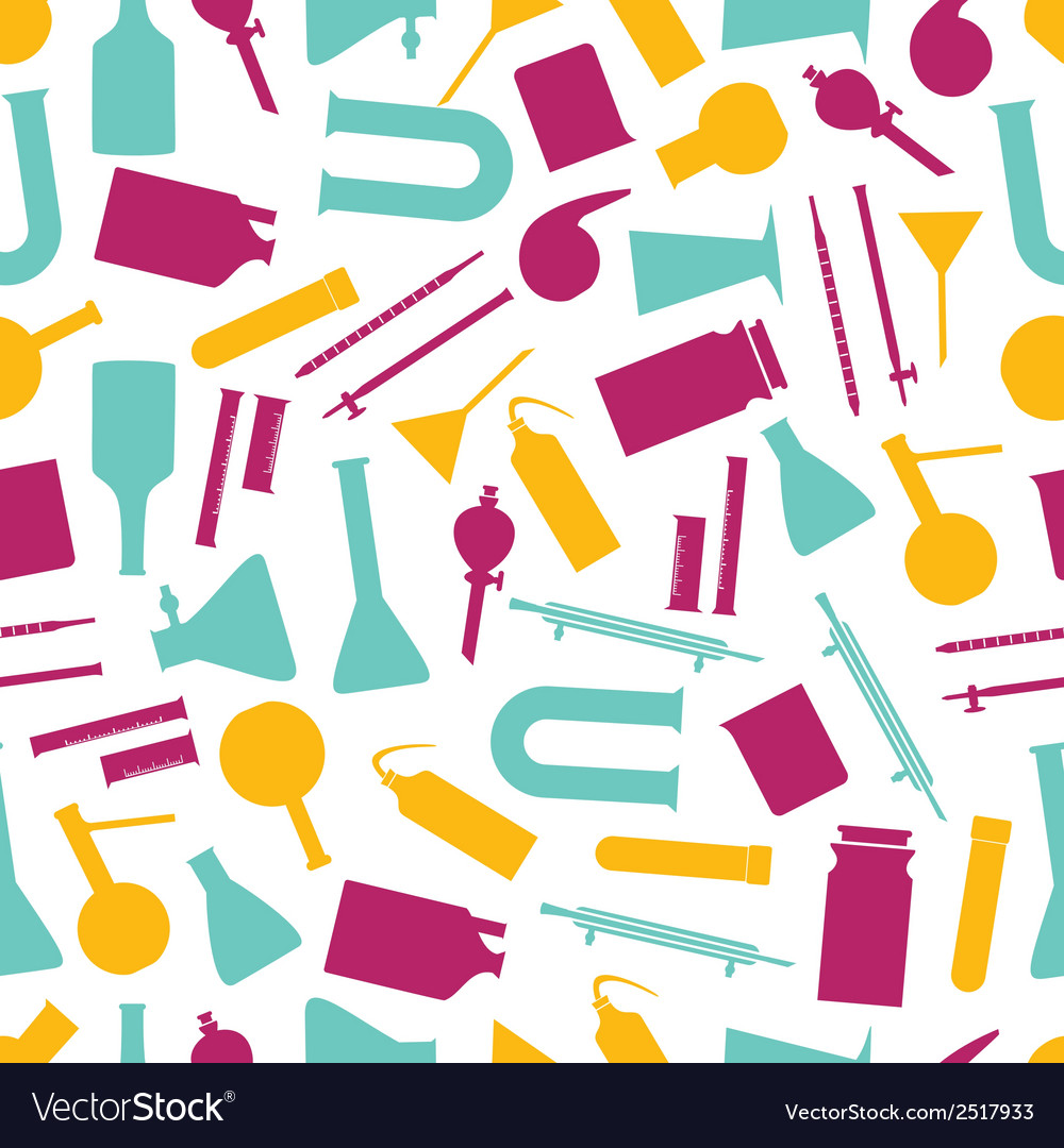 Chemistry laboratory glassware color pattern eps10 vector image