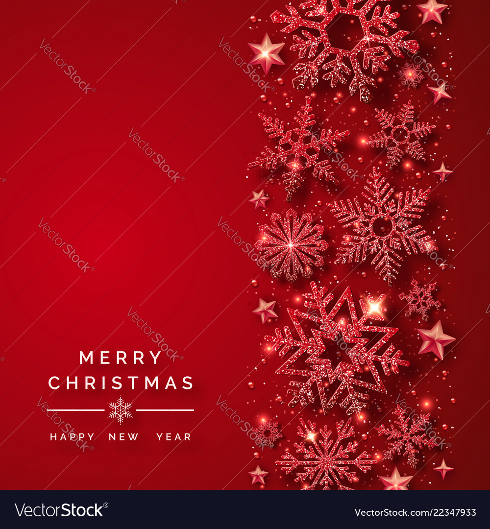 Christmas background with shining red snowflakes