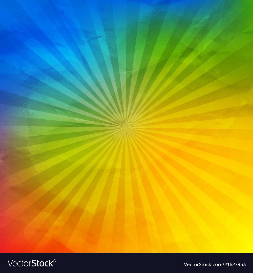 Colorful wrinkled wallpaper with sunburst Vector Image