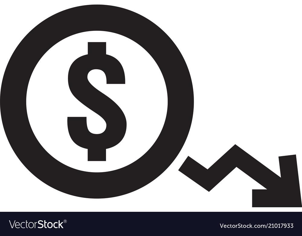 Dollar decrease icon money symbol with arrow