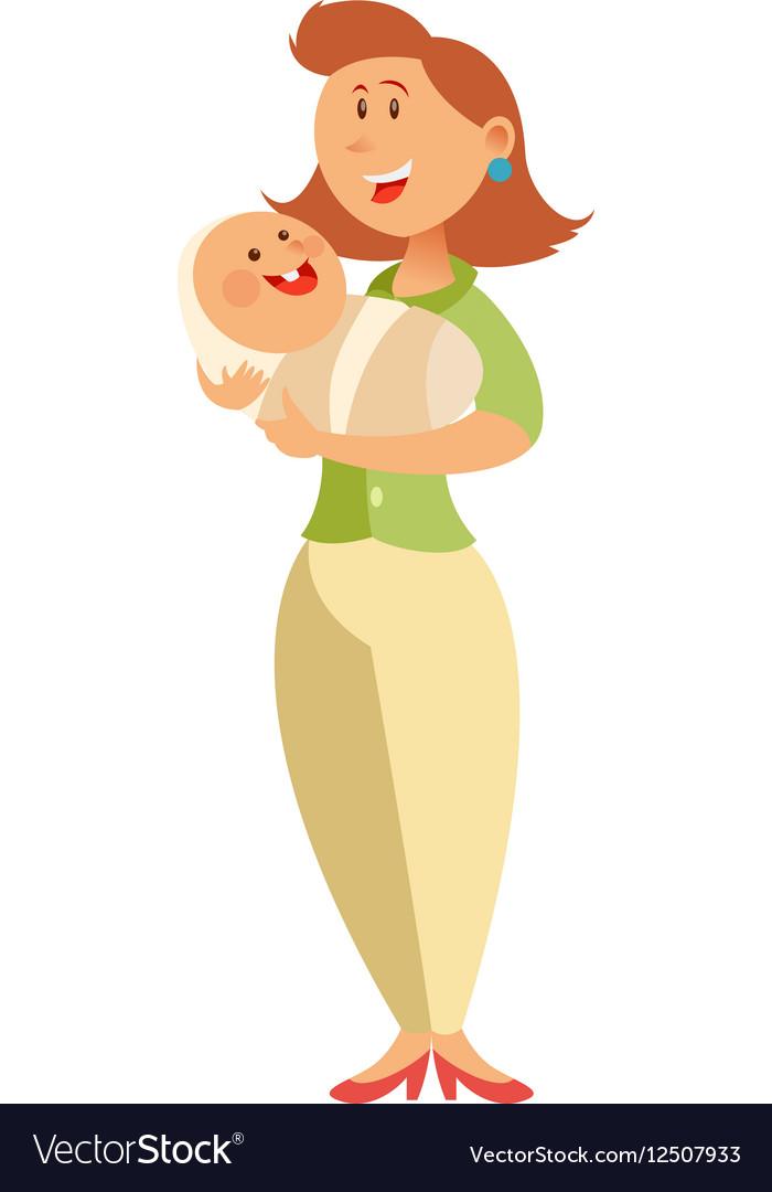 Flat happy mother