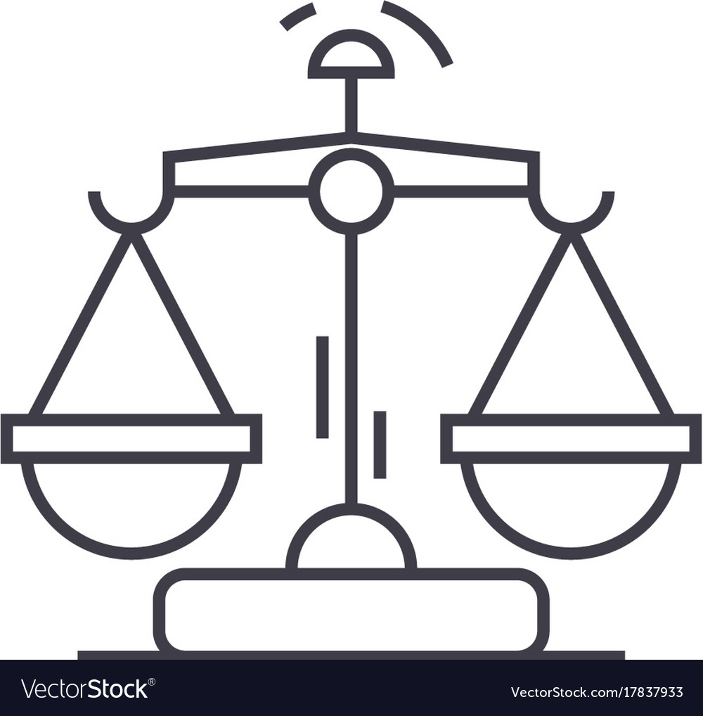 Law and justice line icon sign