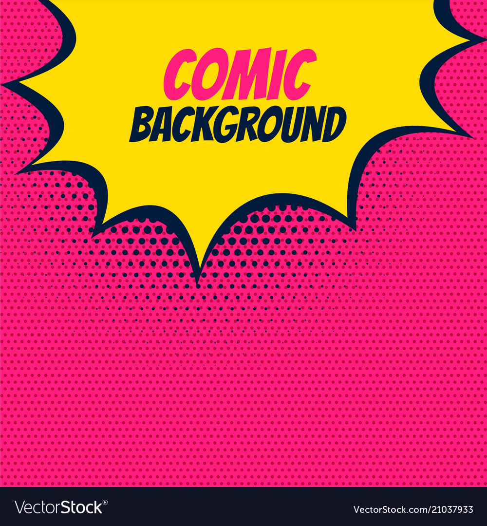 Pop comic pink background with yellow burst bubble