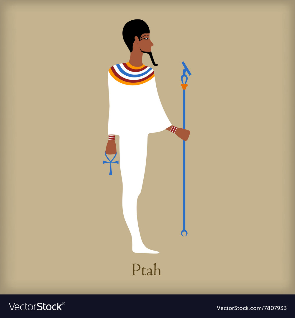 Ptah God of creation icon flat style