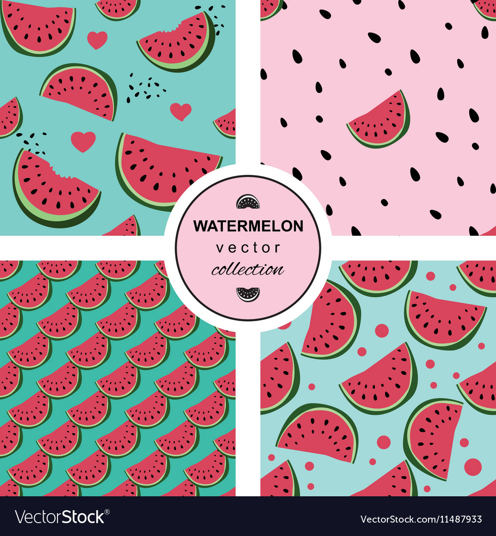 Seamless pattern with watermelons and dots