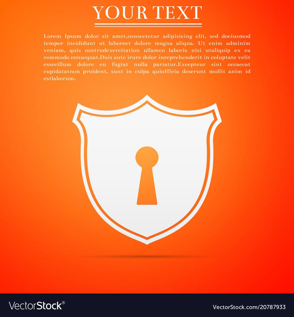 Shield with keyhole icon on orange background