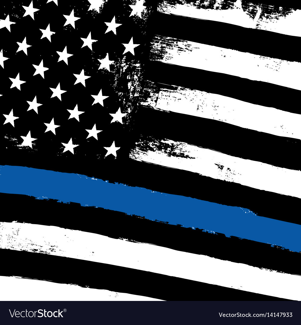 Thin blue line black flag with police blue line