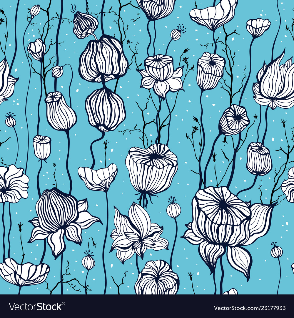 Vintage seamless pattern with hand drawn abstract