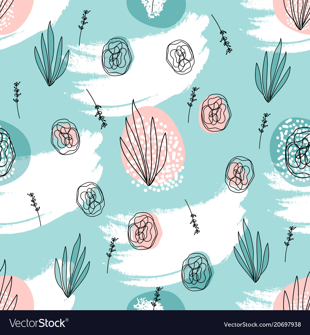 Abstract hand drawn floral doodle pattern