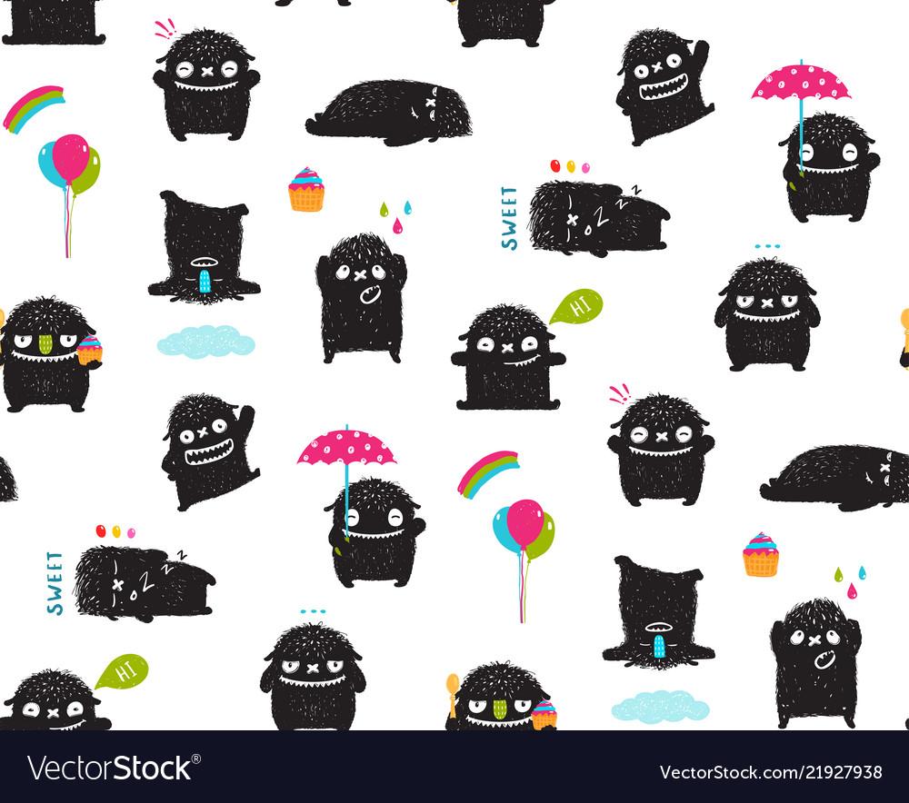 Black monsters kids seamless pattern