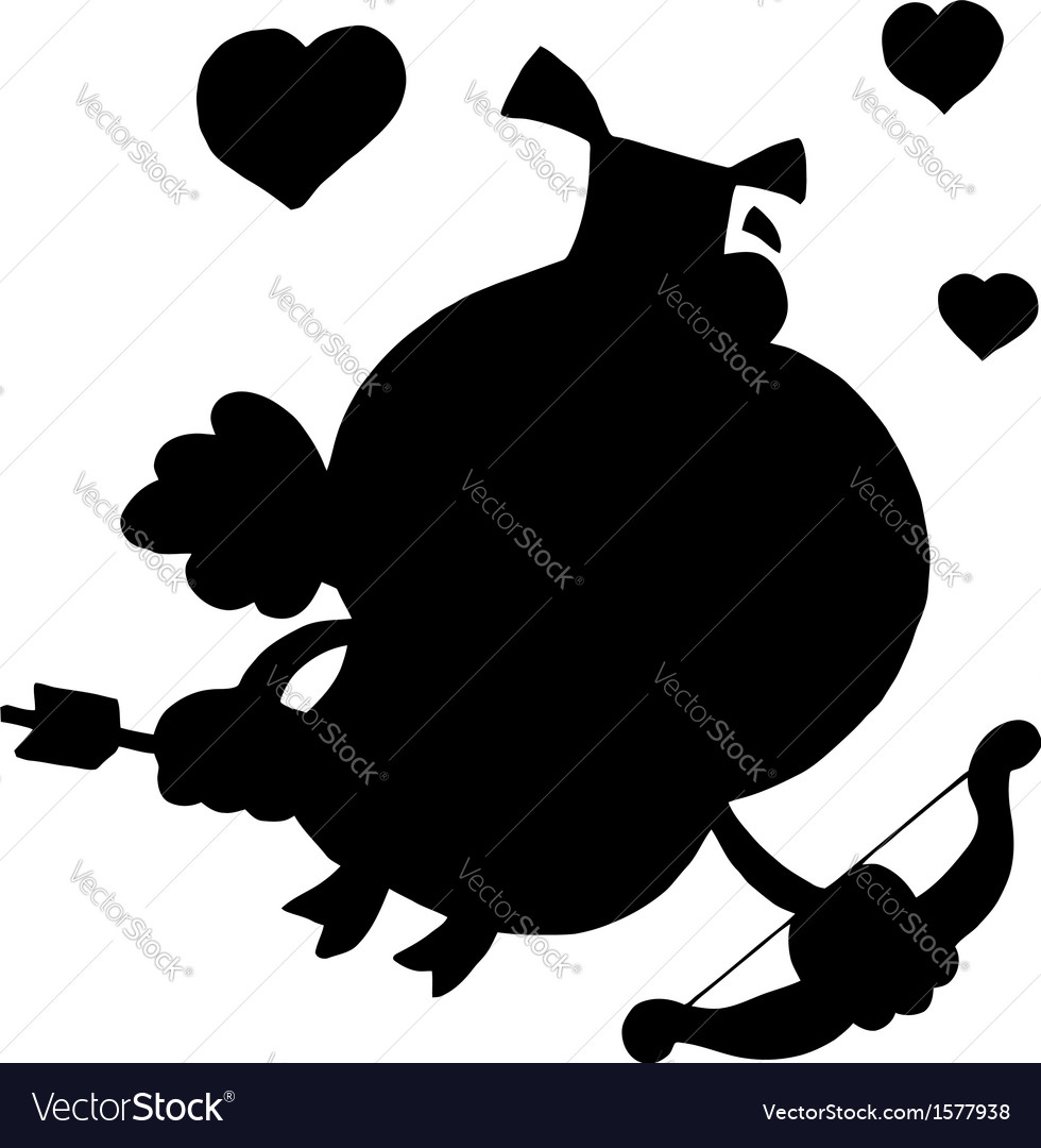 Cartoon cupid silhouette vector image