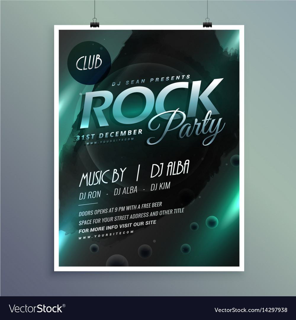 Club rock party music flyer template vector image