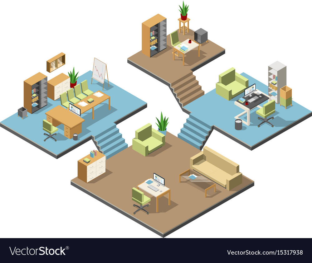 Different isometric modern offices with furniture vector image