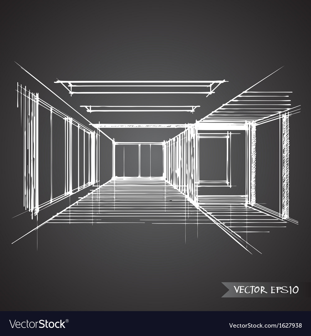 Delightful Empty Room Of Interior Design Vector Image