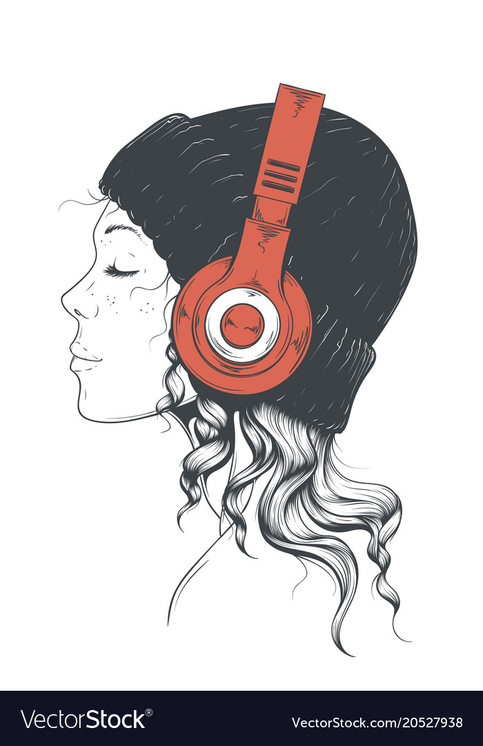 Girl in headphones vector image