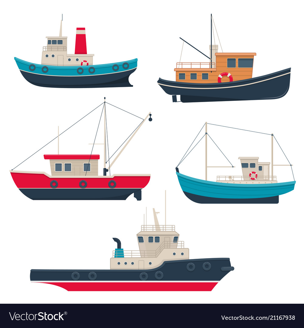 set of different fishing boats and tug boats vector image