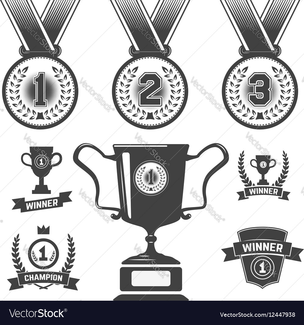 Set of medal icons trophy first place icons