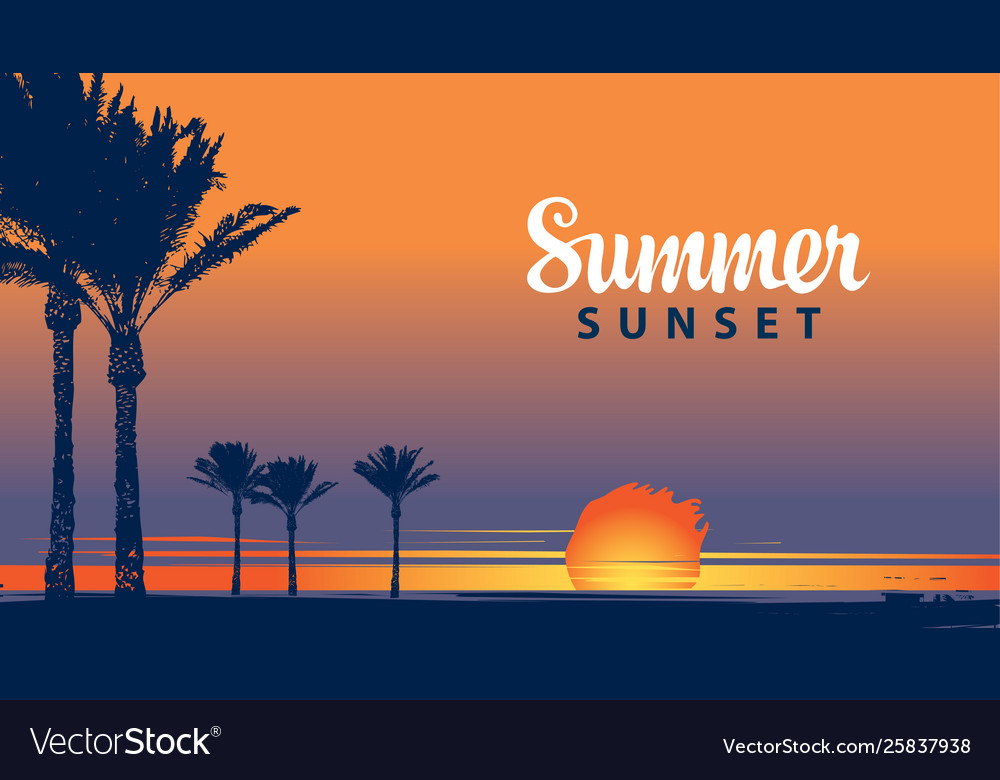 Summer tropical banner with palms at sunset