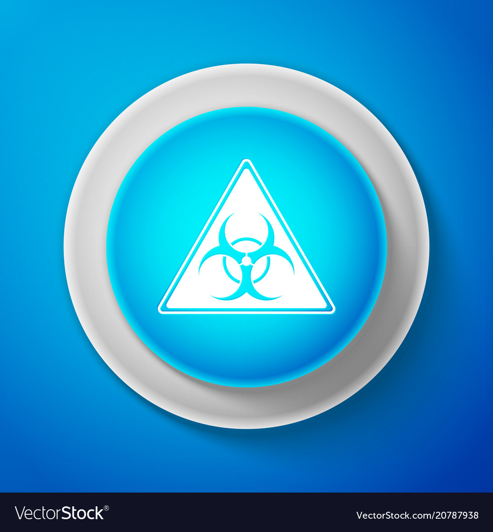 White triangle sign with biohazard symbol icon