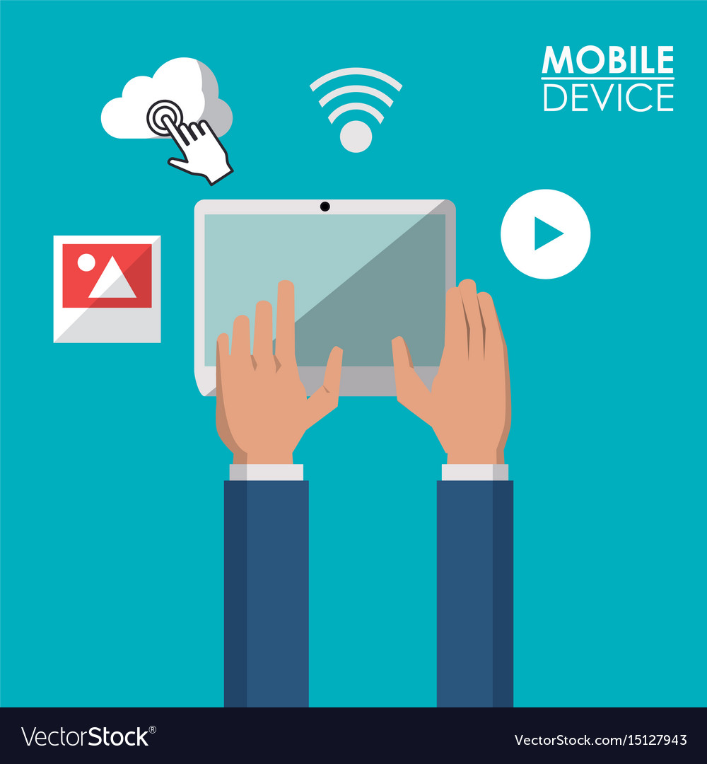 Colorful poster of mobile devices with tablet and