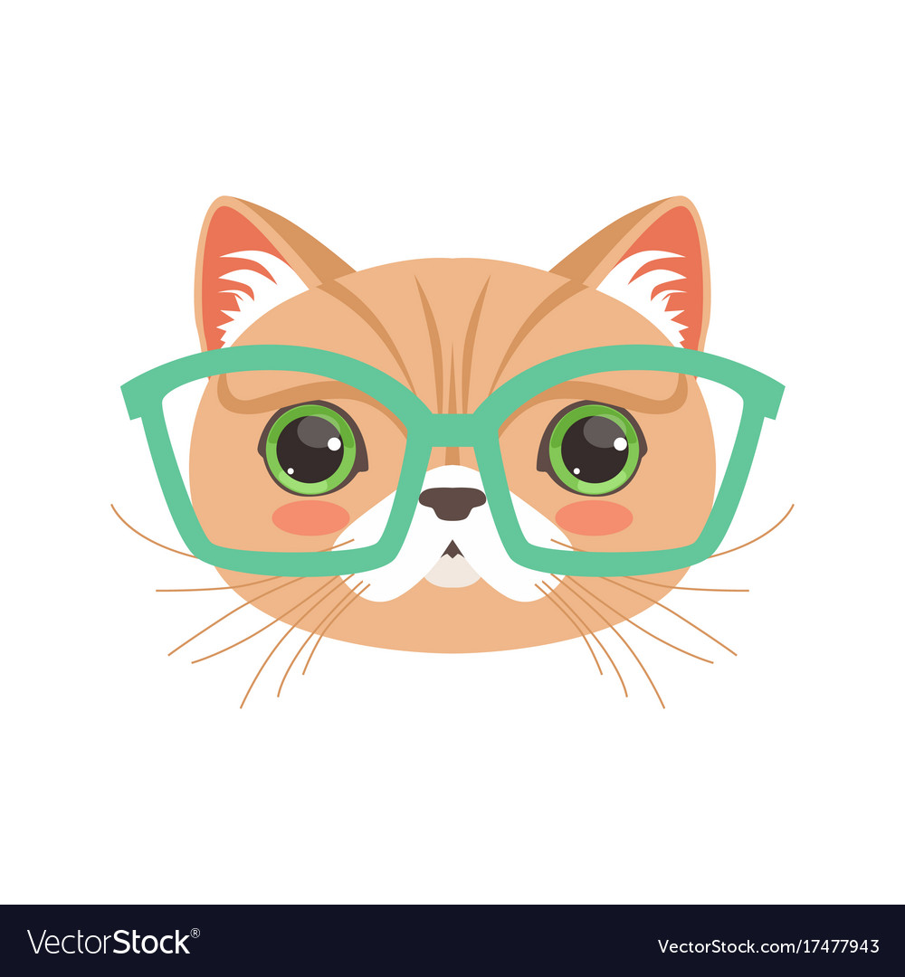 6f87ce0eb9ee6 Cute cat wearing glasses funny cartoon animal Vector Image