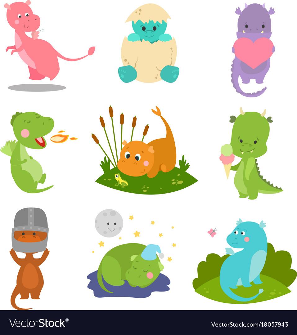 Cute kid baby dragon dinosaur fantasy animals