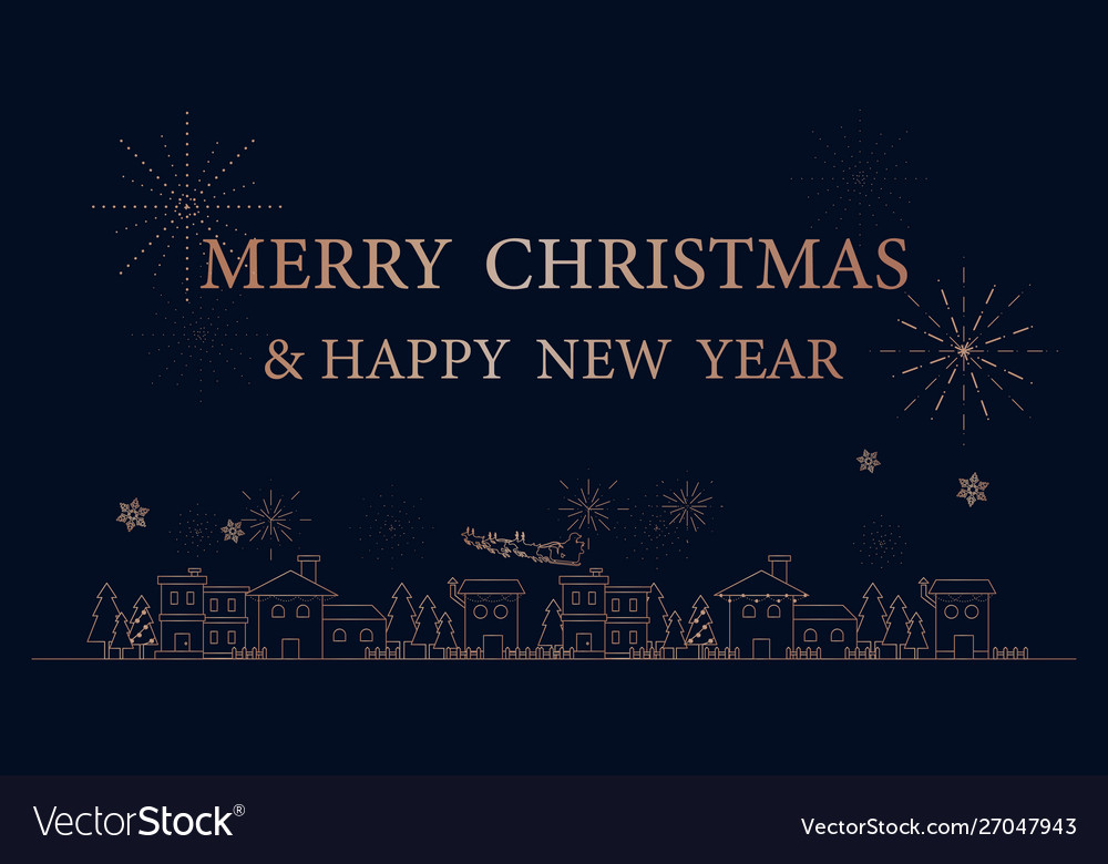 Merry christmas city simple outline linear style