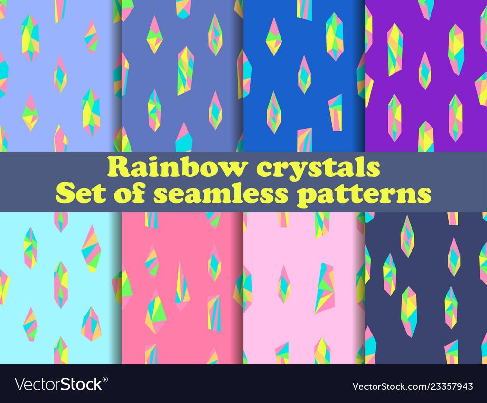 Rainbow crystals seamless pattern set background