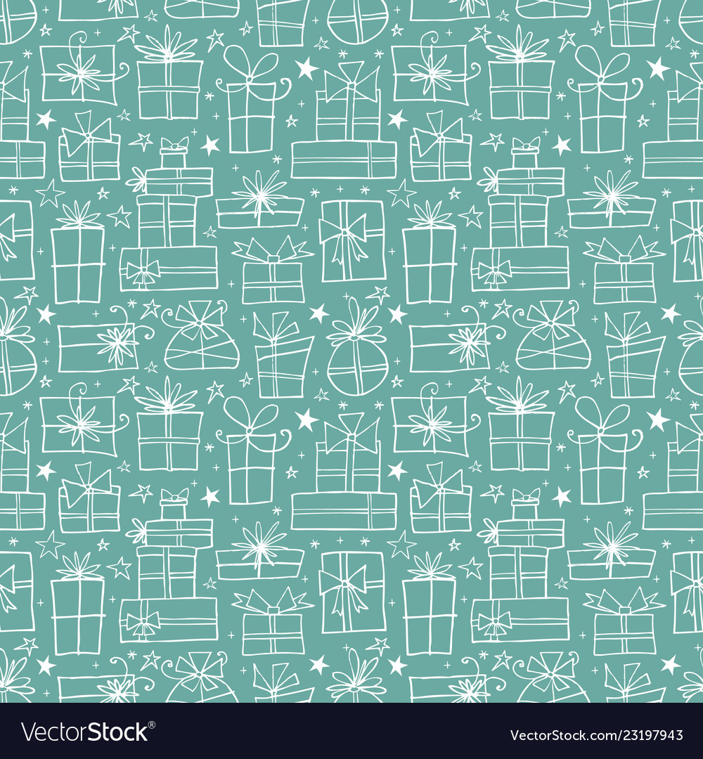 Seamless pattern with white doodle gift boxes on
