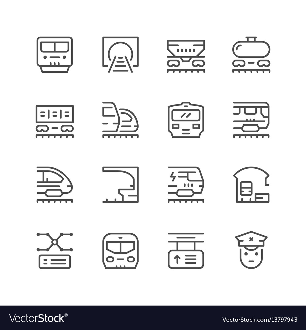 Set line icons of railroad