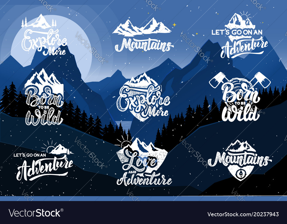 Set of hiking emblems on background with