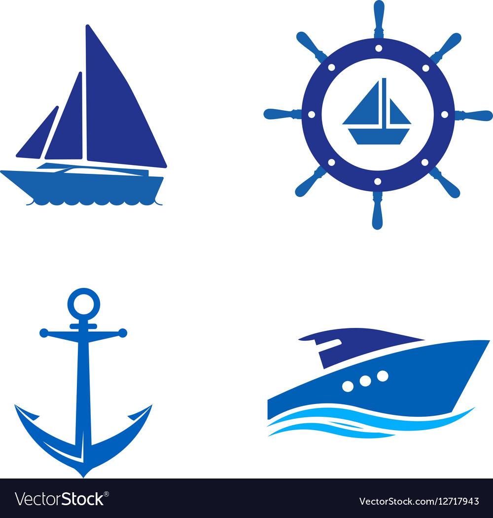 Ship Wheel Anchor and Yacht logo - isolated