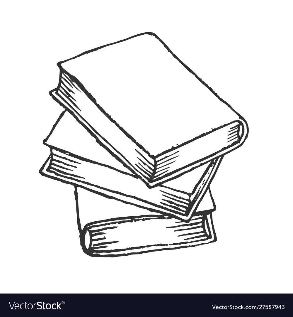 Stack books sketch hand drawn books