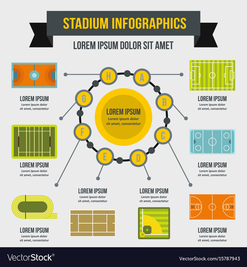 Stadium infographic concept flat style