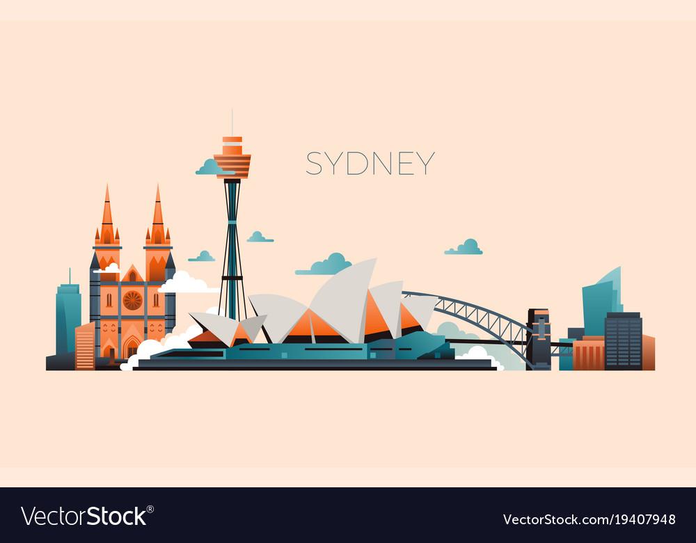 Australia travel landmark landscape with vector image