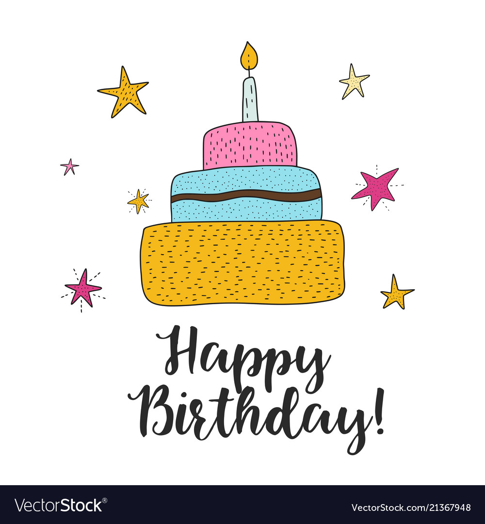 Swell Birthday Cake Cartoon Royalty Free Vector Image Funny Birthday Cards Online Inifodamsfinfo