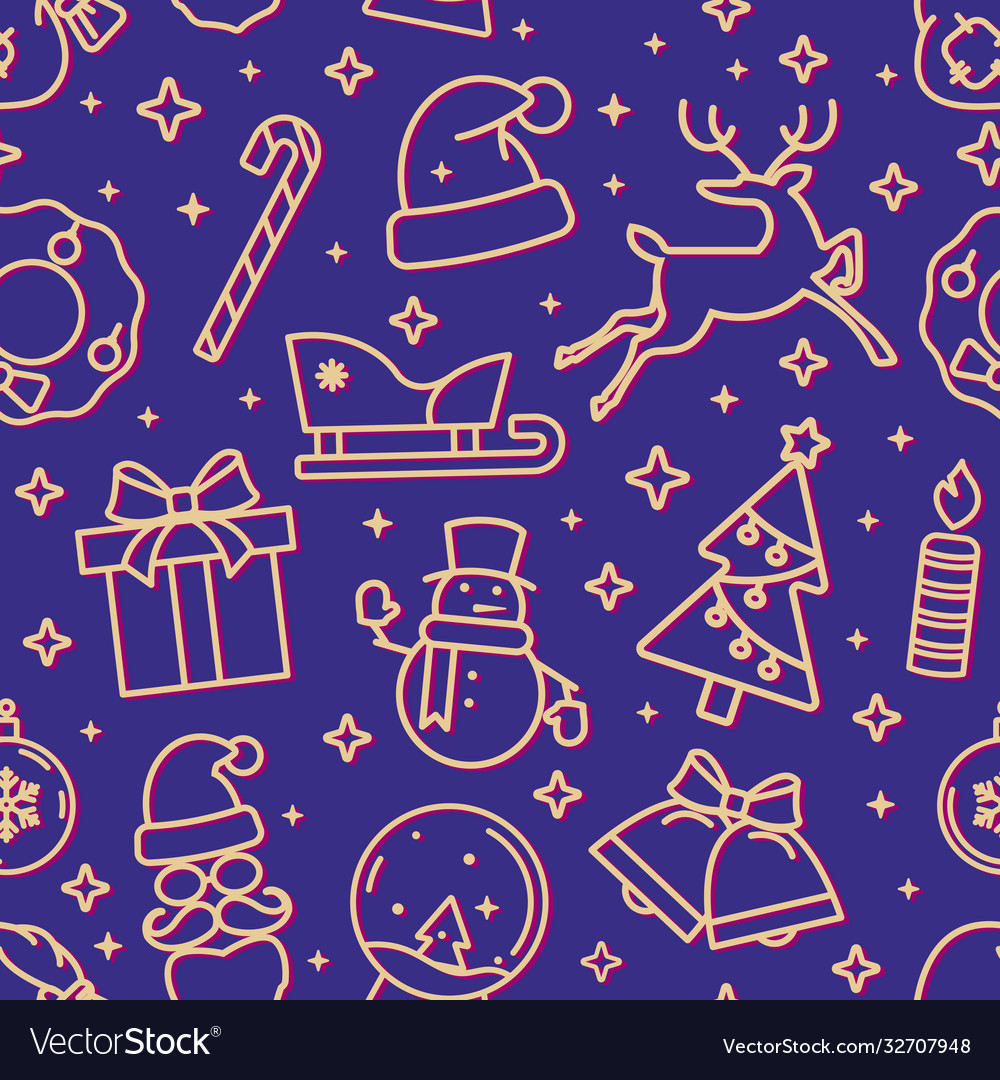 Blue and gold christmas seamless pattern with new