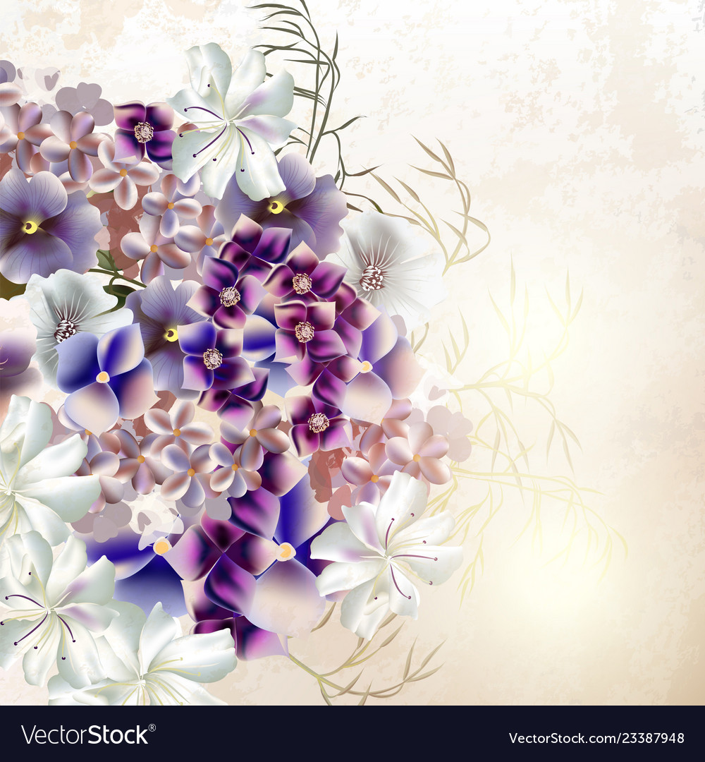 Grunge background with purple flowers