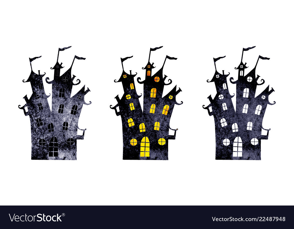 Halloween silhouettes of watercolor castles