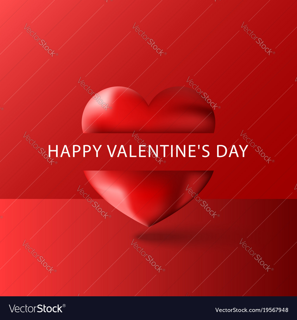 Happy Valentines Day Text Greeting Card Blank Vector Image